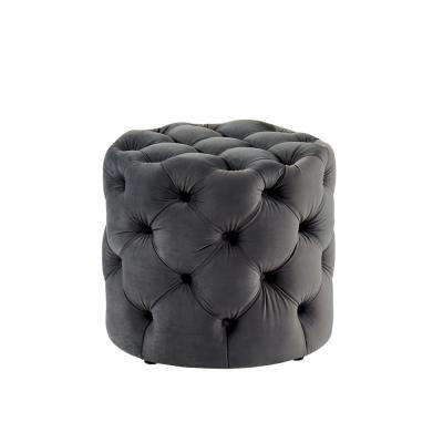 Nahnie Gray Button Tufted Ottoman