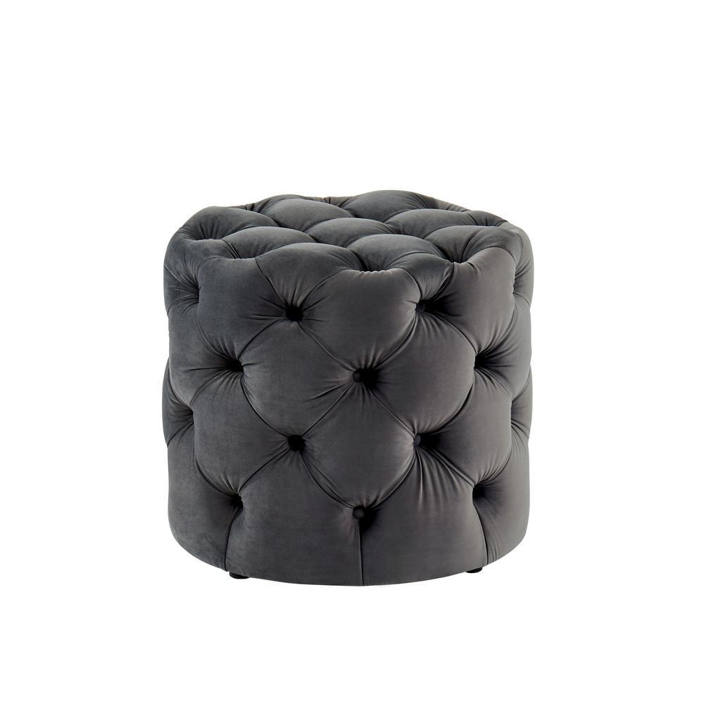 Peachy Nahnie Gray Button Tufted Ottoman Bralicious Painted Fabric Chair Ideas Braliciousco