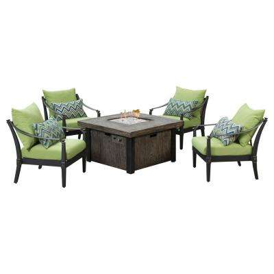 Astoria 5-Piece Fire Pit Chat Set with Ginkgo Green Cushions