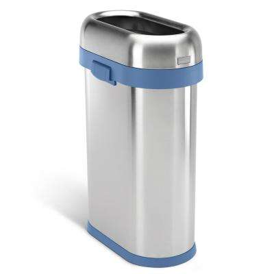 50-Liter/13 Gal. Heavy-Gauge Brushed Stainless Steel Slim Open Top Commercial Trash Can with Blue Trim
