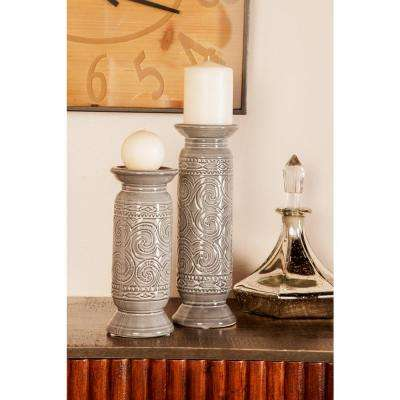 Gray Cylindrical Ceramic Candle Holders (Set of 3)
