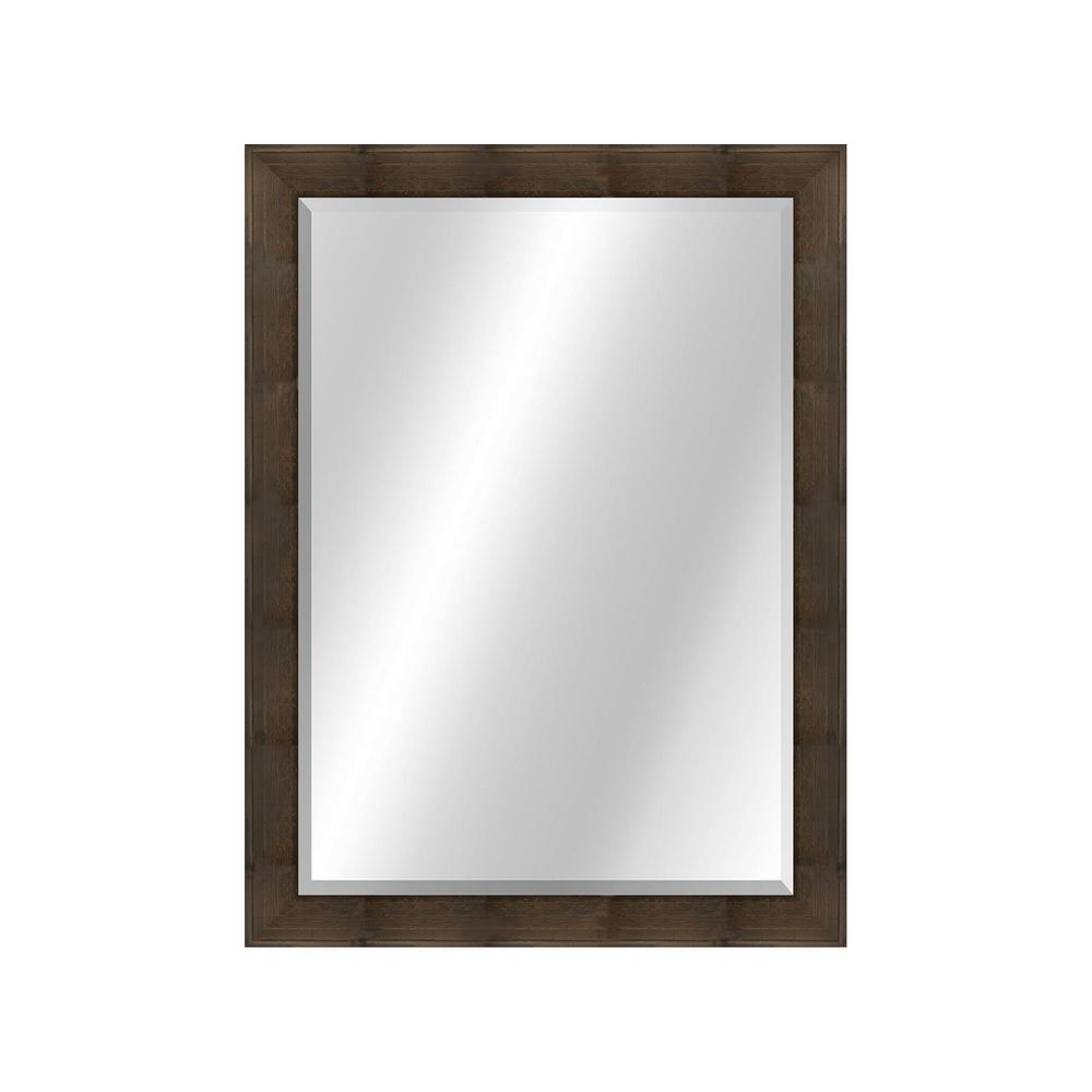 Patterned 22 x 28 Veneer Walnut Framed Vanity Mirror