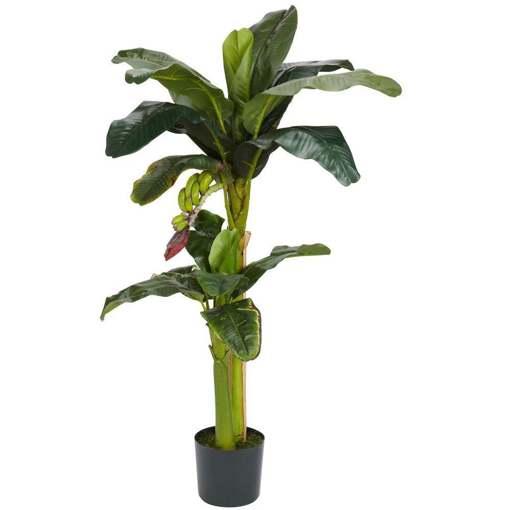 Nearly Natural 5 ft. and 3 ft. Green Banana Silk Tree with Bananas