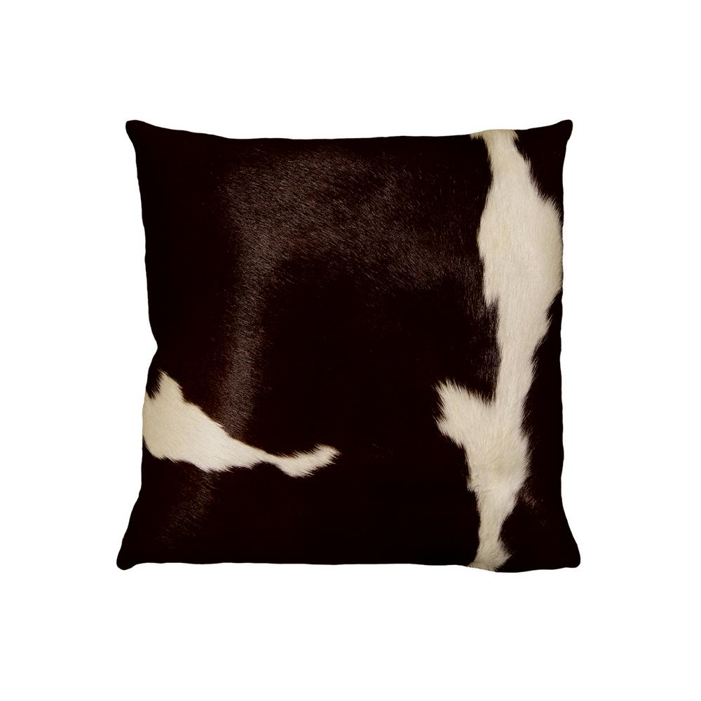 Torino Chocolate And White 18 In X Cowhide Pillow 676685000040 The Home Depot