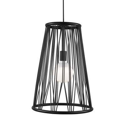 Diamant 1-Light Matte Black Pendant with LED Bulb
