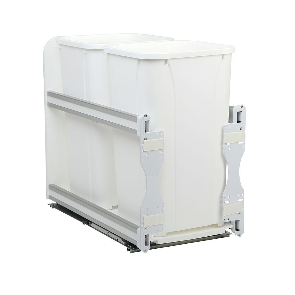 Knape & Vogt 11-13/16 in. x 22-7/16 in. x 19-1/2 in. 27 Qt. In-Cabinet Soft-Close Double Trash Can