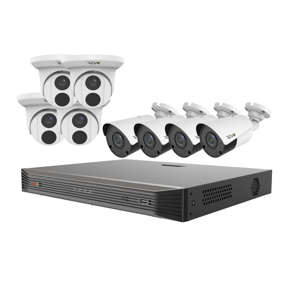 Ultra Commercial Grade 16-Channel 4K 3TB Smart NVR Surveillance System with 8 4K 8MP Indoor/Outdoor Cameras With incredible video quality, ease of use, and powerful networking tools, Revo Ultra is the very best that Revo has to offer. The Revo Ultra's superb video quality is based on IP technology. The RU162T4KB4K-3T is a complete plug andplay Smart HD surveillance system with 16 channel 4K smart NVR, 3TB and 8 x 4K HD Indoor/outdoor Cameras. The Revo ultra 16 channel NVR is powerful featuring state of the art H.265 Compression, up to 4K Recording, 4K video output and 3TB Video Surveillance Grade HDD. The H.265 cameras feature massive True 4K Sensors, 2 times the resolution of 4MP Cameras. The built-in Professional Grade OSRAM LEDs and IR anti reflection glass strongly illuminate the scene up to an unprecedented 100 in total darkness. The Turret camera feature a 2.8 mm fixed lens which provides a 105° angle of view. The Bullet Camera feature a 4 mm lens which provides an 80° angle of view. The cameras are built for the outdoors capable of handling temperatures as cold -40°F and as hot as 140. View your Revo Ultra 4K cameras from anywhere. Using the Revo Ultra Mobile smartphone app, simply set up an account and then scan your NVRs QR code to begin mobile viewing. Access your Ultra NVR via the web using www.myrevocloud.com, compatible with Internet Explorer. Pre-event recording includes video before motion is detected providing valuable context leading up to the incident. Experience Peace of Mind with the ultimate high resolution IP technology from Revo.