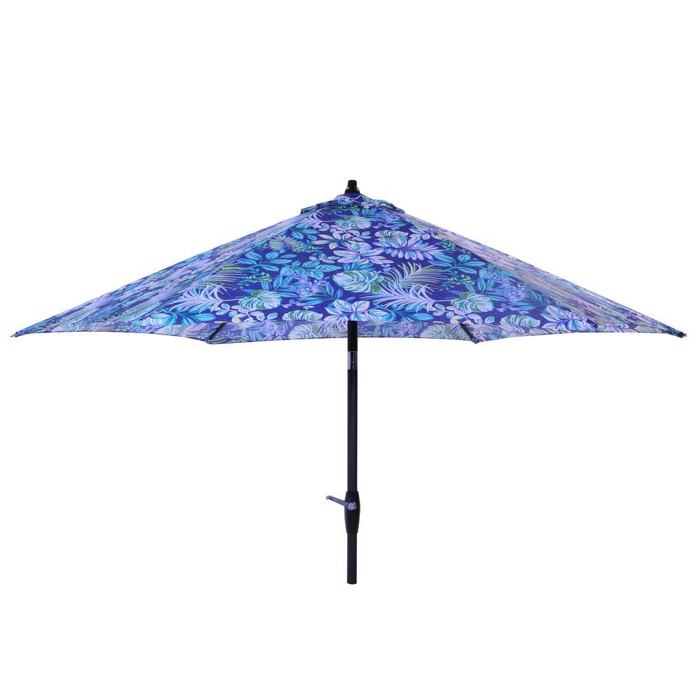 Hampton Bay 9 ft. Aluminum Market Tilt Patio Umbrella in Tropical Palm