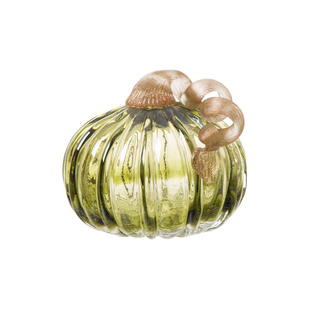 5.91 in. D x 4.72 in. H Green Crackle Glass Short Pumpkin