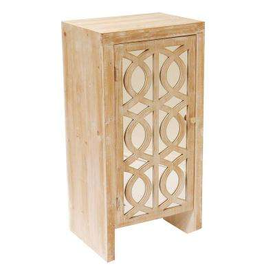 Shelly Assembled 18 in. x 18 in. x 13 in. White Washed Wood Raised Accent Storage Cabinet with Glass Door