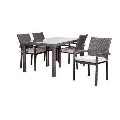 Atlantic Liberty 5-Piece Synthetic Wicker Rectangular Patio Dining Set with Off White Cushions