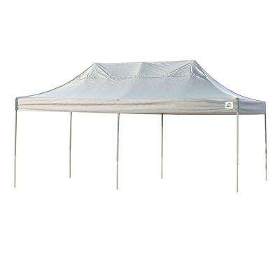 10 ft  W x 20 ft  H Straight-Leg Pop-Up Canopy with White Cover, Black  Roller Bag, and 4-Position-Adjustable Steel Frame