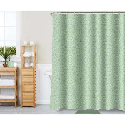 Medallion Tile Sage 18-Piece Bath Rug, Ceramic Accessories and Shower Curtain Set