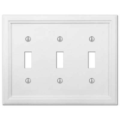 Elly 3 Gang Toggle Composite Wall Plate - White