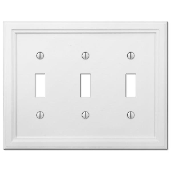 Amerelle Ascher 3 Gang Toggle Steel Wall Plate White 149tttw The Home Depot