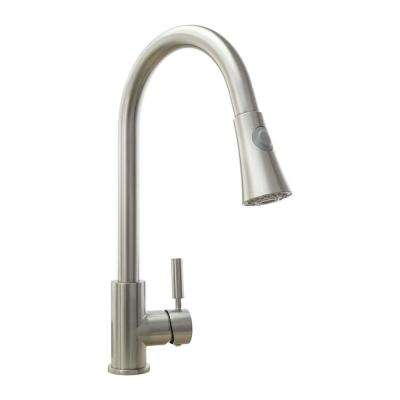 Single-Handle Pull-Down Sprayer Kitchen Faucet with Ceramic Disc Valve in Brushed Nickel