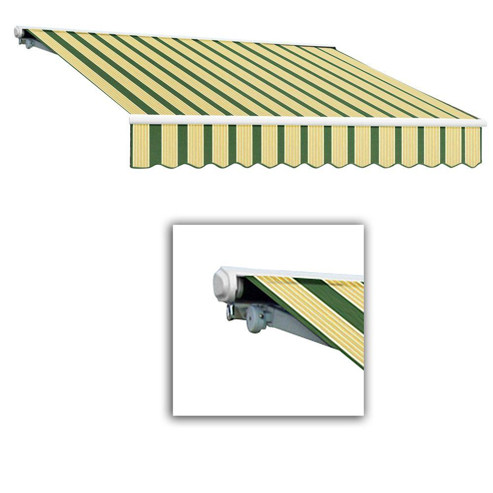 AWNTECH 8 ft. Galveston Semi-Cassette Right Motor with Remote Retractable Awning (84 in. Projection) in Forest/Tan Multi