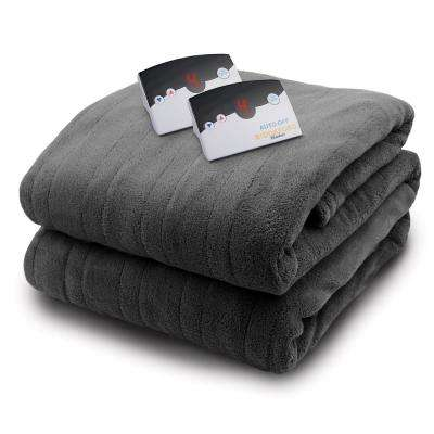 2033 Series Micro Plush Heated 84 in. x 90 in. Gray Queen Size Blanket