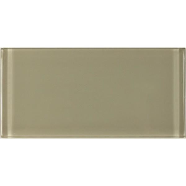 """ABOLOS Subway 3"""" x 6"""" Rectangle Beige Taupe Glossy Glass Peel & Stick Decorative Bathroom Wall Tile Backsplash (8-Pieces/Pack)"""