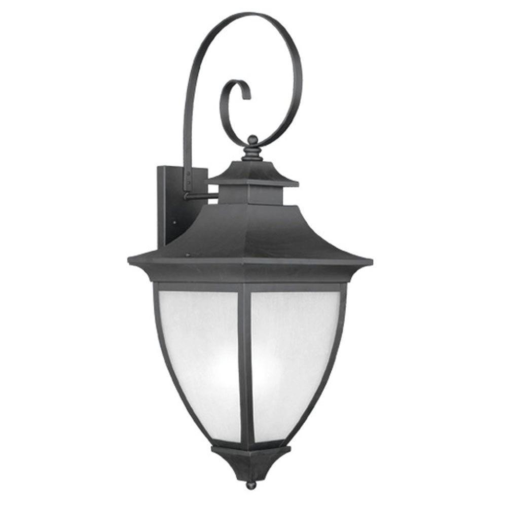 Livex Lighting Providence Wall-Mount 1-Light Outdoor Black Incandescent Lantern