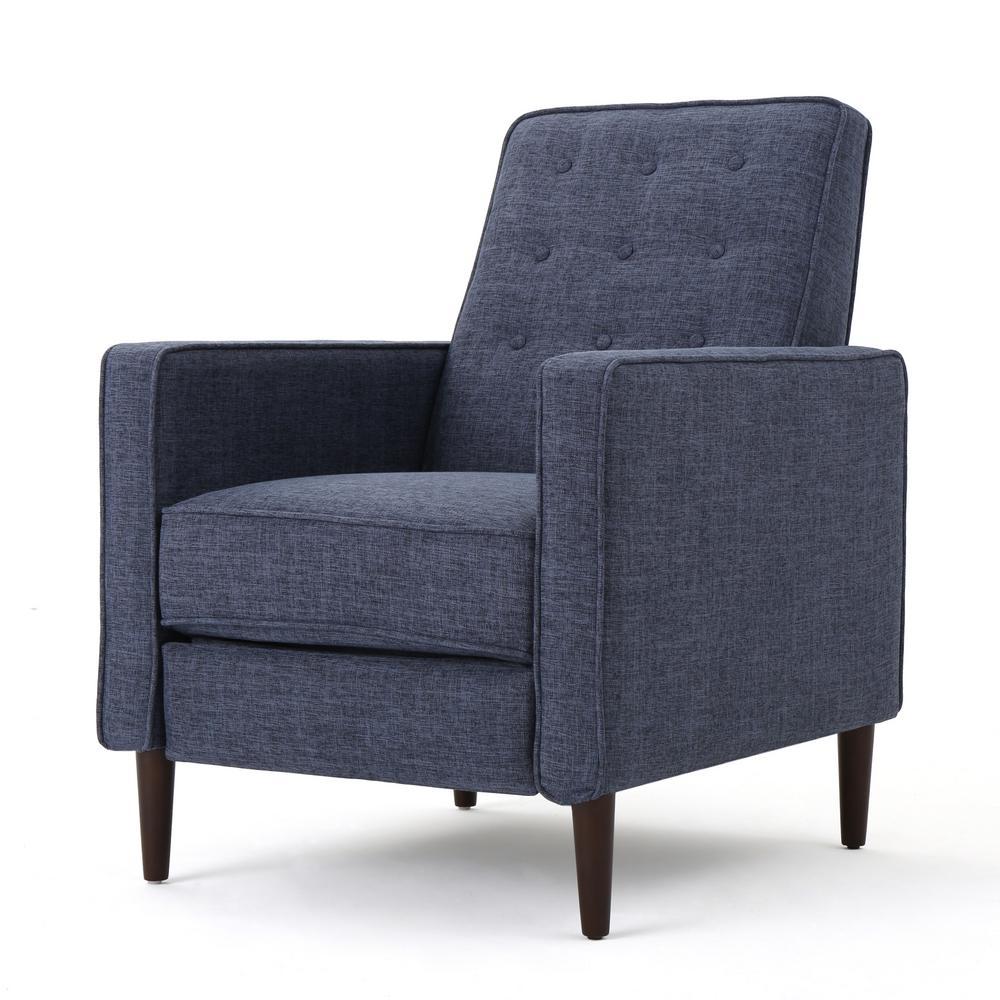 Deborah dark blue fabric mid century modern recliner