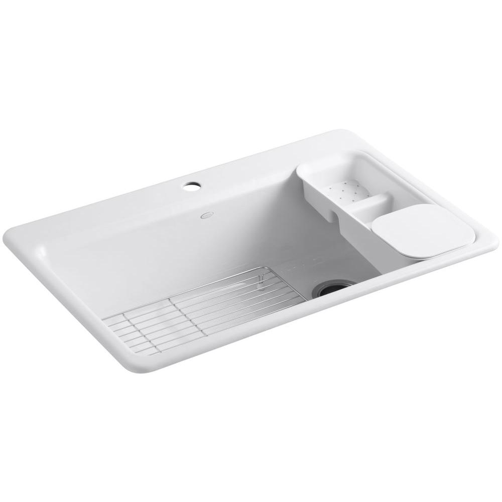 KOHLER Riverby Drop-In Cast-Iron 33 in. 1-Hole Single Basin ...