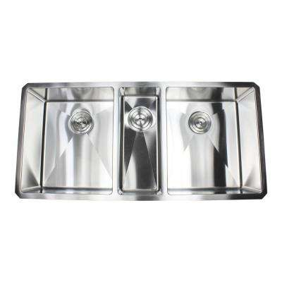 Undermount Stainless Steel 42 in. x 20 in. x 10 in. 16-Gauge Triple Bowl Kitchen Sink