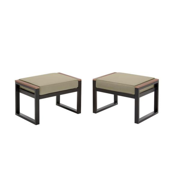 West Park Black Aluminum Outdoor Patio Ottoman with CushionGuard Putty Tan Cushion (2-Pack)