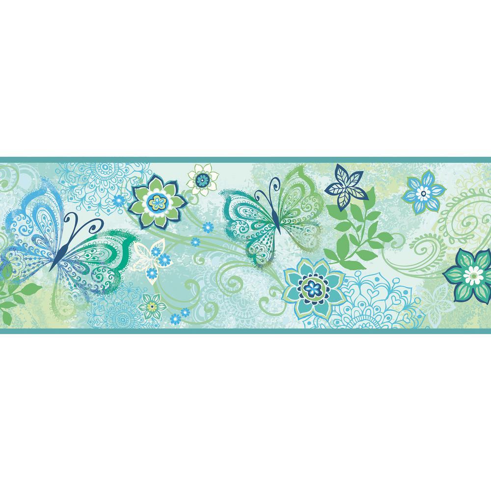 chesapeake fantasia blue boho butterflies scroll wallpaper border
