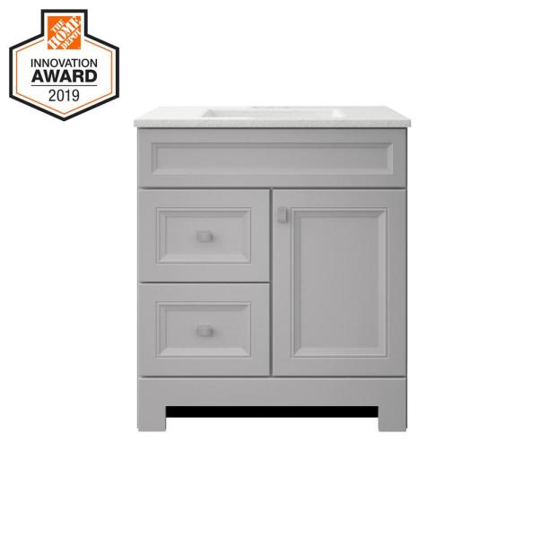 Sedgewood 30-1/2 in. W Bath Vanity in Dove Gray with Solid Surface Technology Vanity Top in Arctic with White Sink