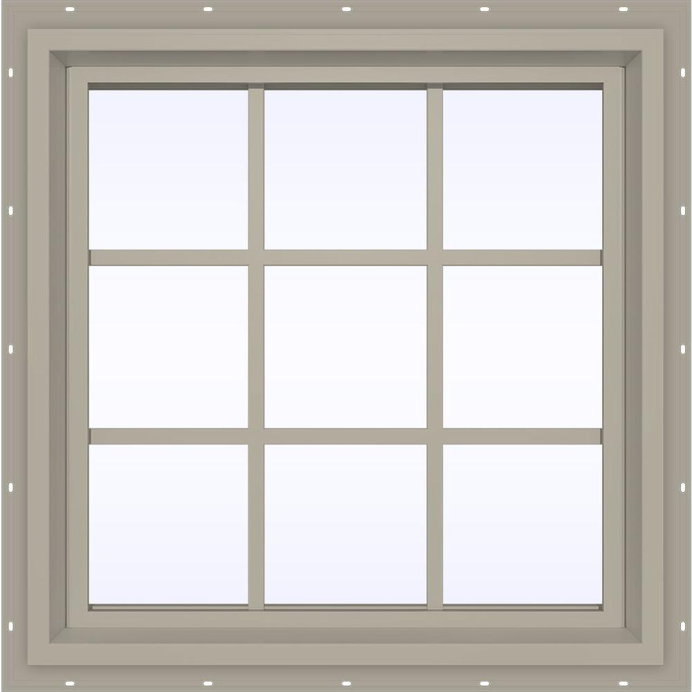 JELD-WEN 29.5 in. x 35.5 in. V-4500 Series Desert Sand Vinyl Fixed Picture Window with Colonial Grids/Grilles