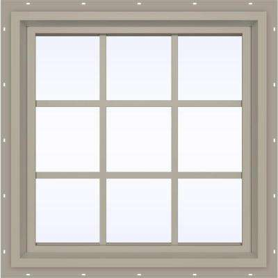 35.5 in. x 35.5 in. V-4500 Series Fixed Picture Vinyl Window with Grids in Tan