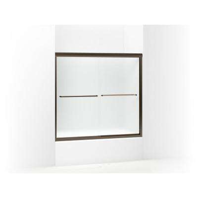 Finesse 59-5/8 in. x 55-3/4 in. Semi-Frameless Sliding Tub Door in Frosted Deep Bronze with Handle
