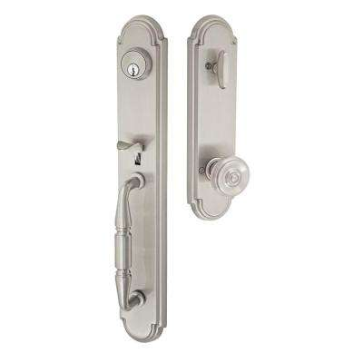 Solid Brass Brushed Nickel Ravina Interconnect Interior Handleset with Cambridge Knob