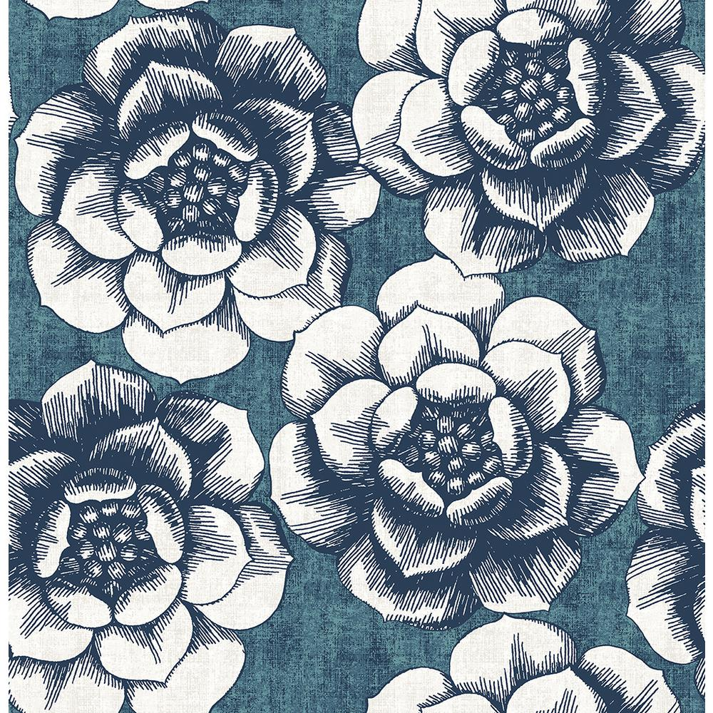 8 in. x 10 in. Fanciful Blue Floral Wallpaper Sample