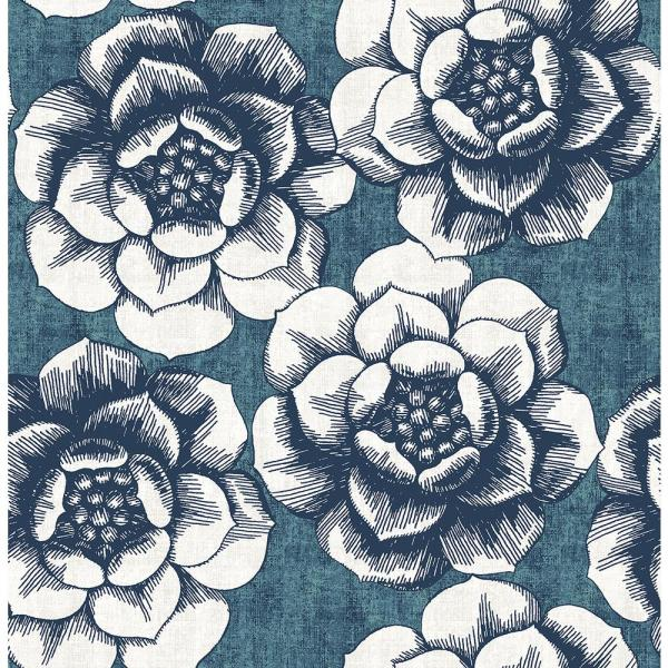 A-Street 8 in. x 10 in. Fanciful Blue Floral Wallpaper Sample