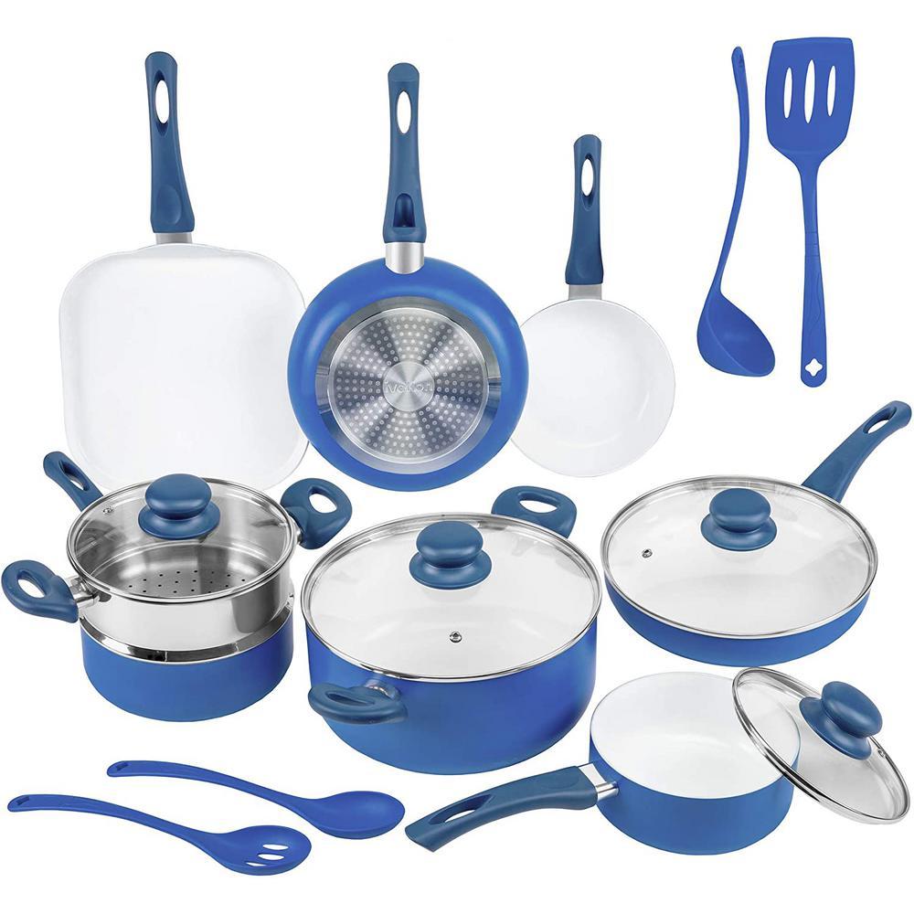 16-Piece Blue Non-Stick Ceramic Cookware Set with Lids