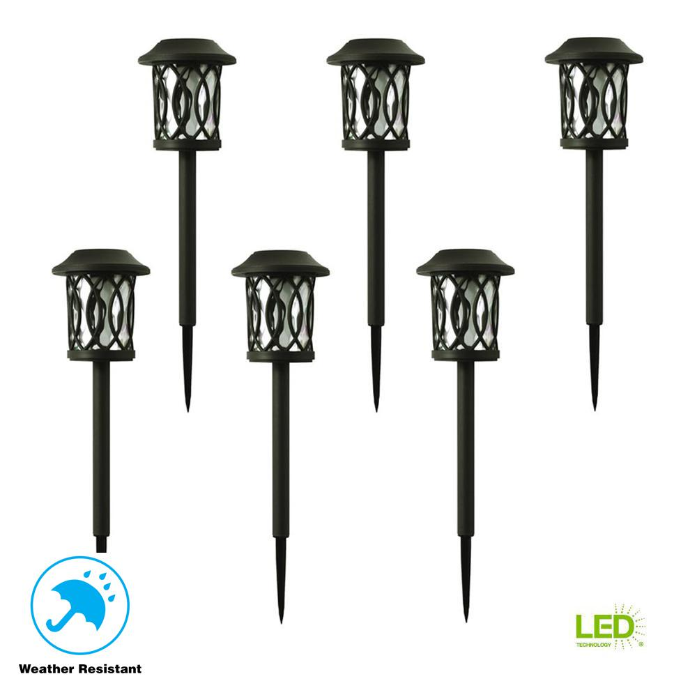 Hampton Bay Solar Bronze Outdoor Integrated LED 3000K 6-Lumens Landscape Pathway Light (6-Pack)