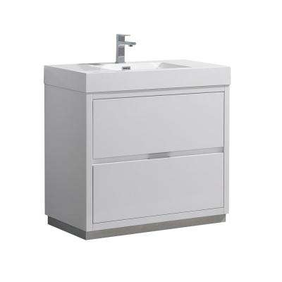 Valencia 36 in. W Bathroom Vanity in Glossy White with Acrylic Vanity Top in White