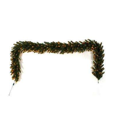 9 ft. Pre-Lit LED Artificial Aspen Fir Garland