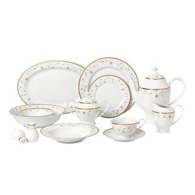 57-Piece Assorted Colors Dinnerware Set-New Bone China Service for 8-People-Greta