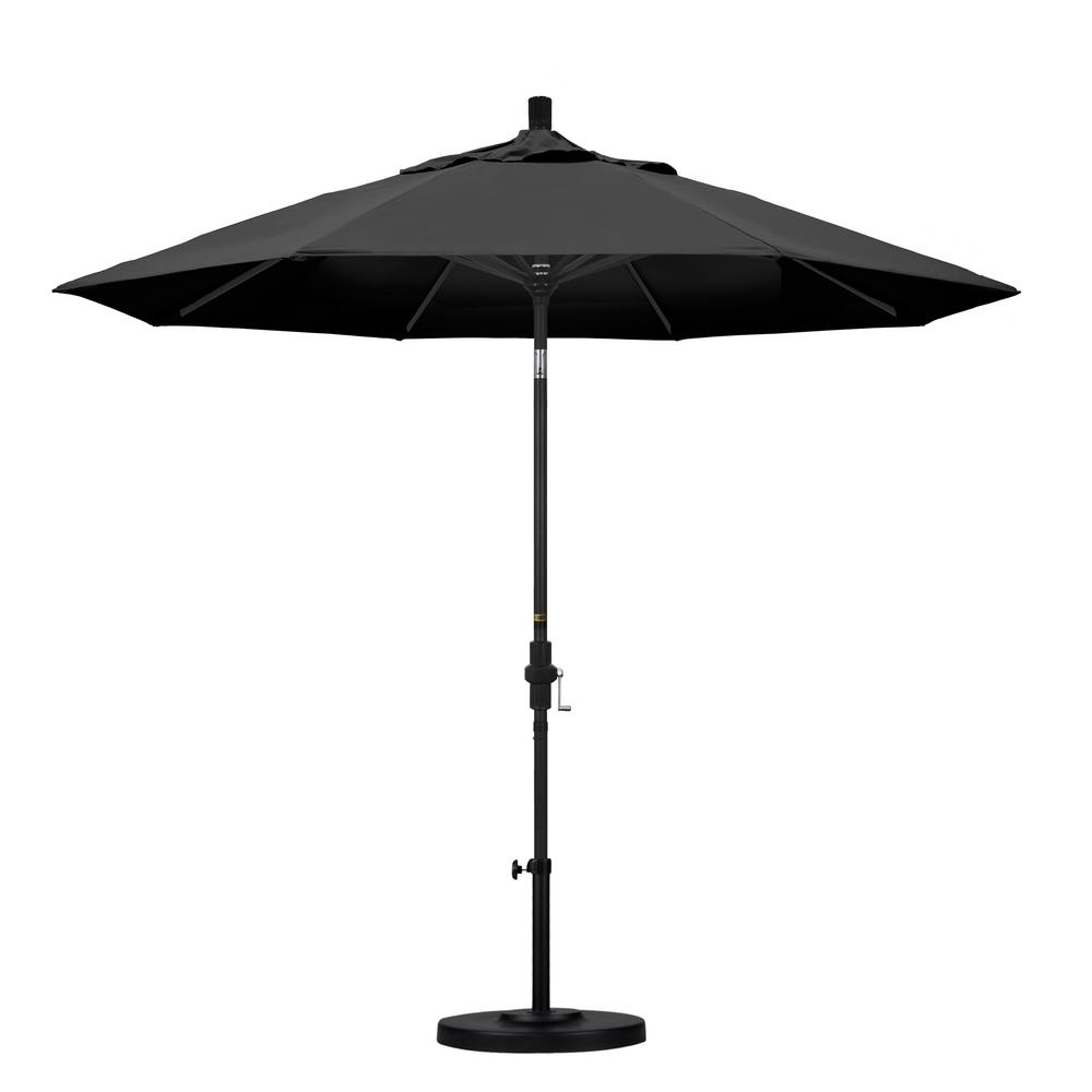 9 ft. Aluminum Collar Tilt Patio Umbrella in Black Olefin