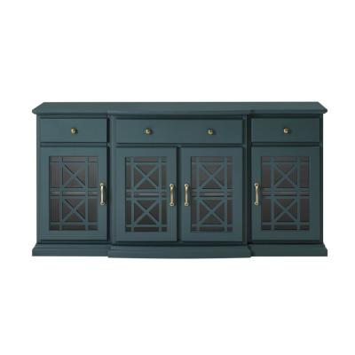 Dark Teal 60 in. Tiered Fretwork Sideboard