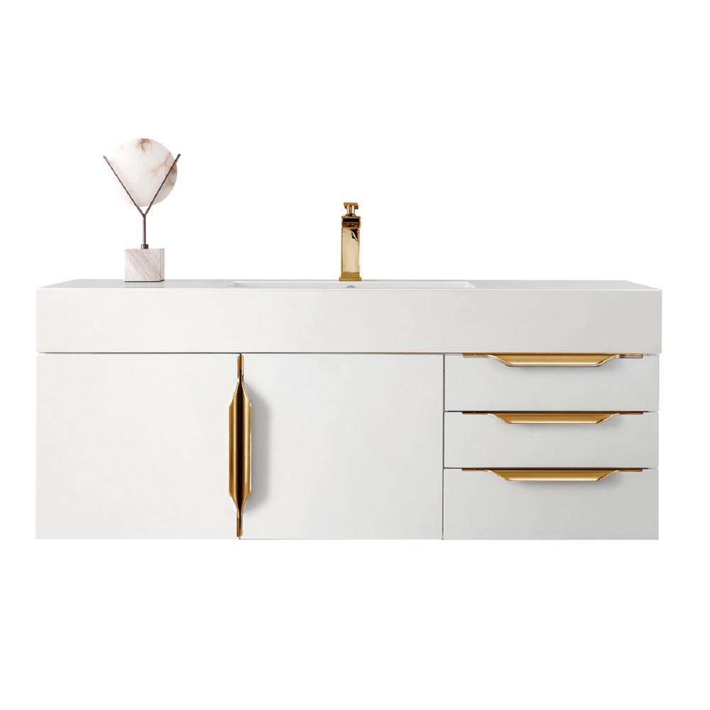 James Martin Signature Vanities Mercer Island 48 in. W Vanity in Glossy White/Radiant Gold with Solid Surface Vanity Top in Matte White with White Basin