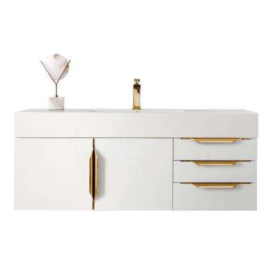 Mercer Island 48 in. W Vanity in Glossy White/Radiant Gold with Solid Surface Vanity Top in Matte White with White Basin