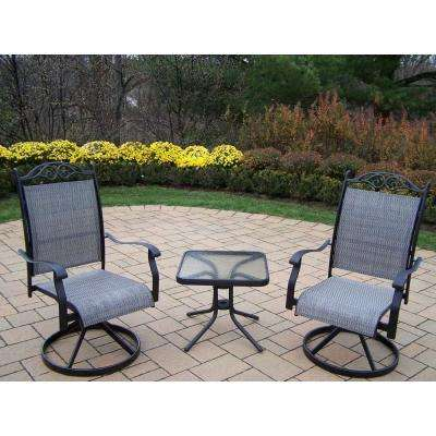 Cascade 3-Piece Black Patio Bistro Set