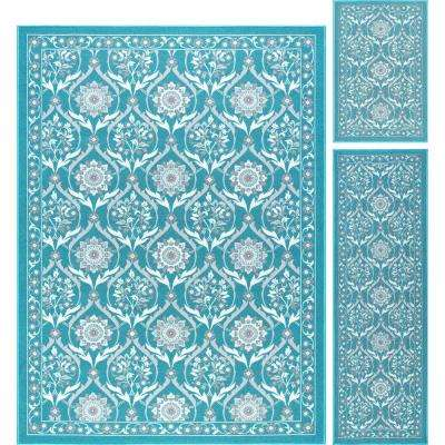 Majesty Teal 5 ft. x 7 ft. 3-Piece Rug Set