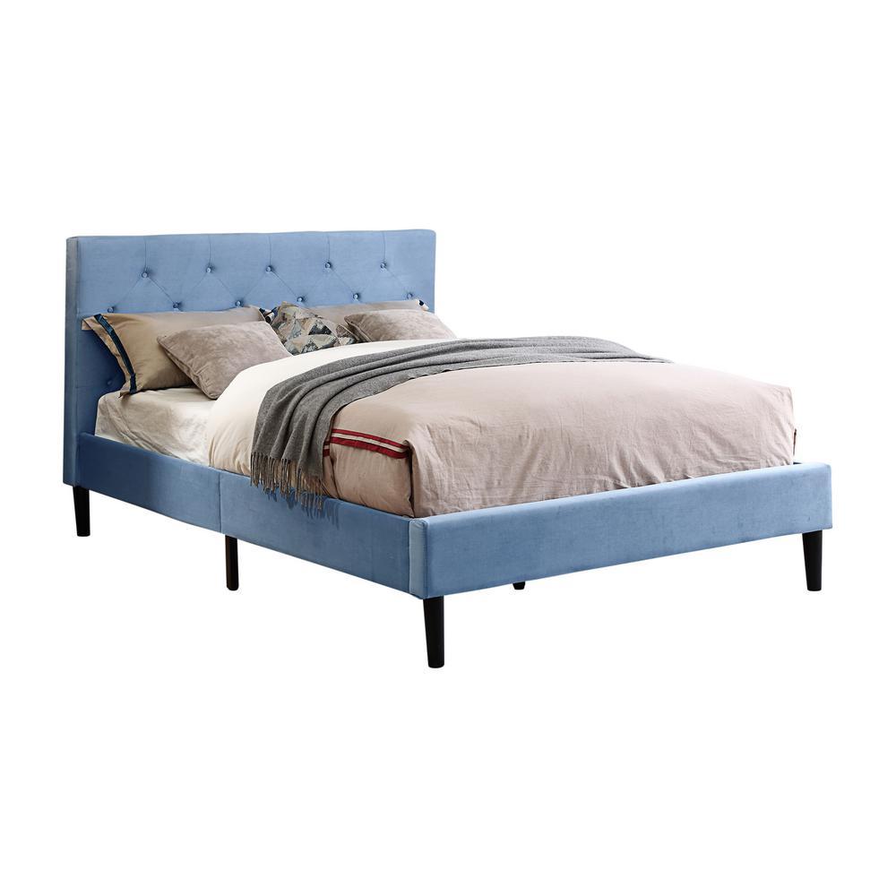 Jukes Light Blue Full Flannelette Upholstered Bed
