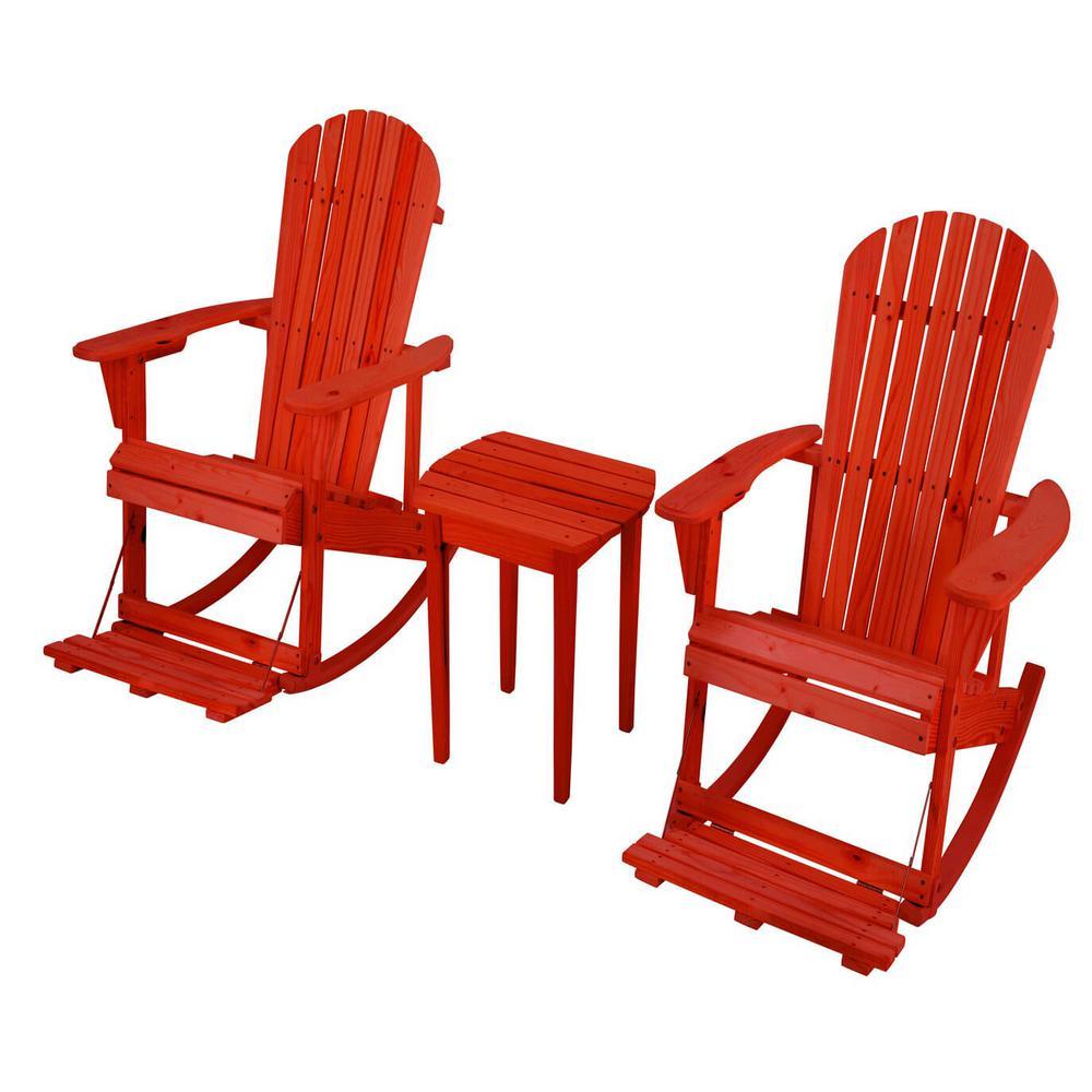Zero Gravity Red 3-Piece Wood Adirondack Rocking Chair Bistro Set