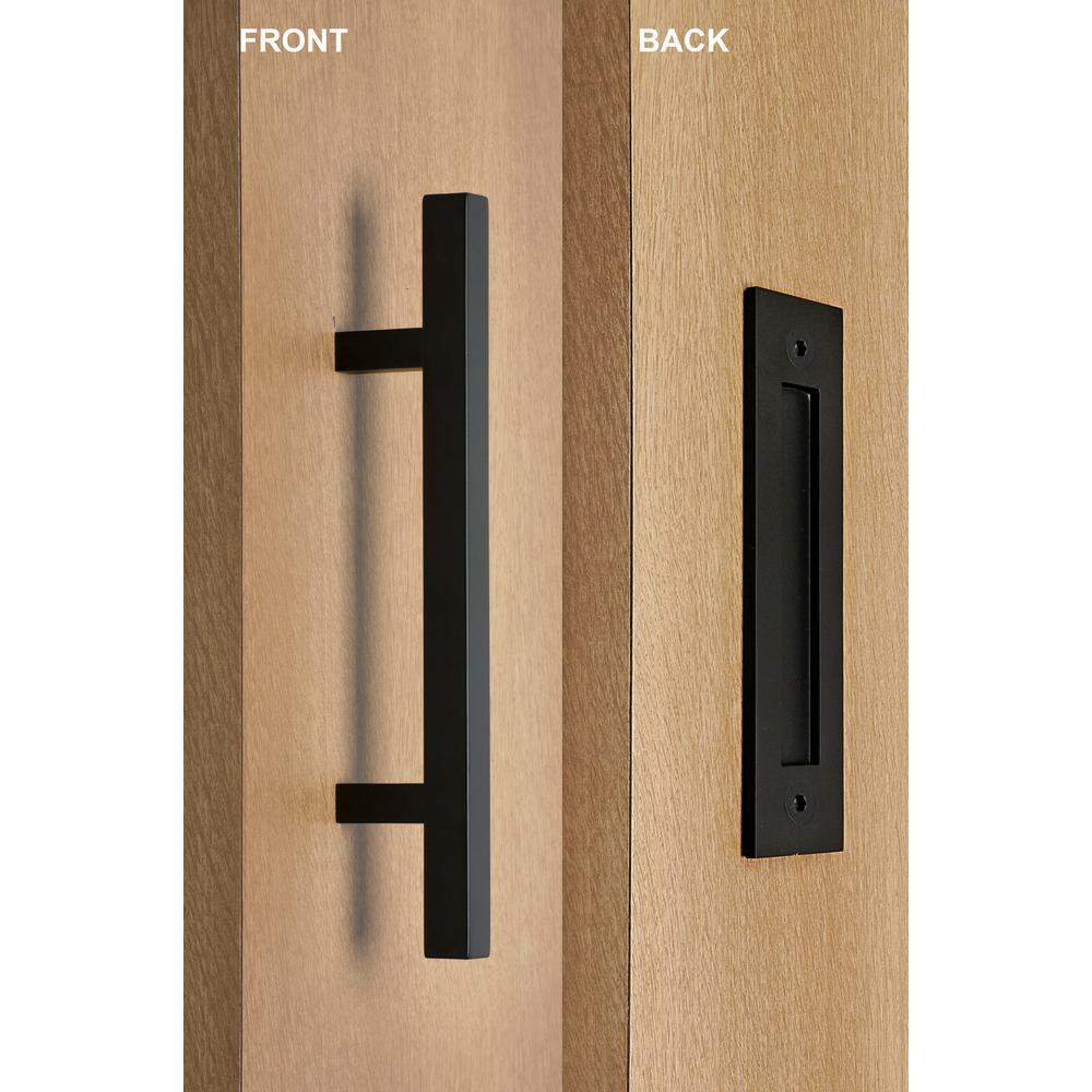strongar contemporary 12 in black powdered square pull and flush sliding barn door handle